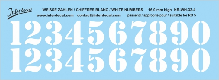 White numbers 04 for RO5 16 mm high (136x53 mm) NR-WH-32-4