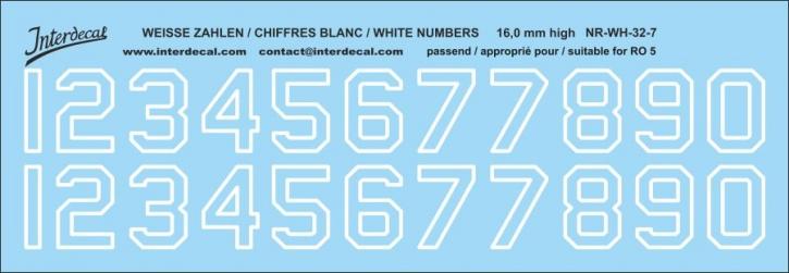 Weiße Zahlen 07 für RO5  16 mm hoch (156x54 mm)