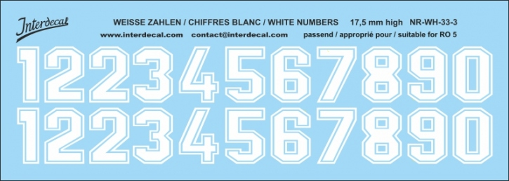 White numbers 03 for RO5 17,5 mm high (148x56 mm) NR-WH-33-3