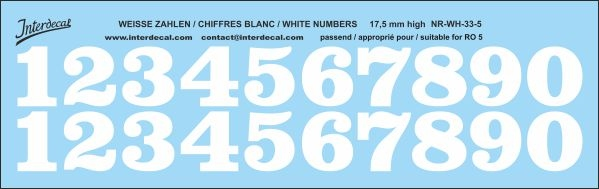White numbers 05 for RO5 17,5 mm high (175x55 mm) NR-WH-33-5