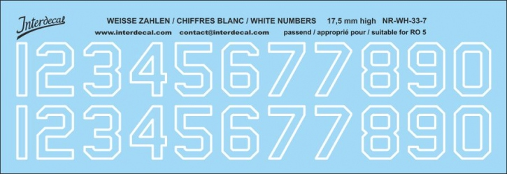 White numbers 07 for RO5 17,5 mm high (169x58mm)