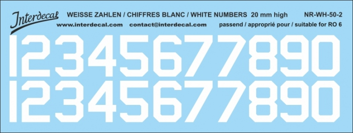White numbers 02 for RO6 20 mm (169x64 mm) NR-WH-50-2