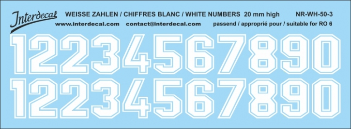 White numbers 03 for RO6 20 mm (173x64 mm) NR-WH-50-3