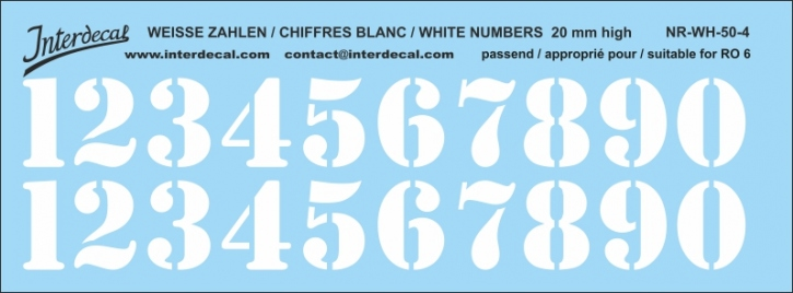 White numbers 04 for RO6 20 mm (173x64 mm) NR-WH-50-4
