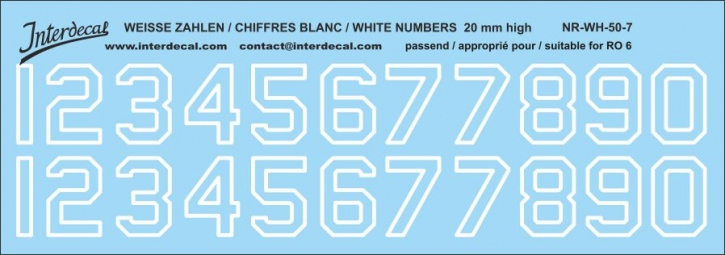 White numbers 07 for RO6 20 mm high (188x66 mm)