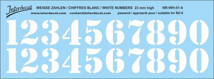 White numbers 04 for RO6 23mm  (198x71 mm) NR-WH-51-4