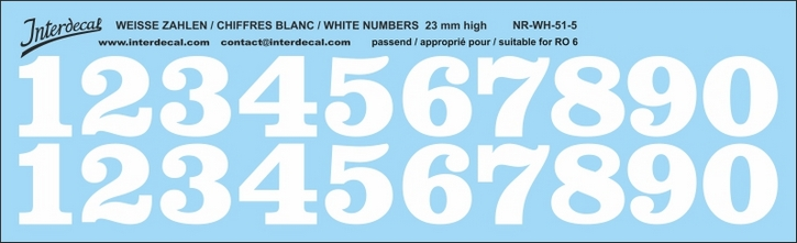 ZAHLEN / NUMBERS / CHIFFRES 05 for R06 weiss/white/blanc 23mm ( 227x69 mm)