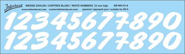 ZAHLEN / NUMBERS / CHIFFRES 06 for R06 weiss/white/blanc 23mm ( 237x69 mm)