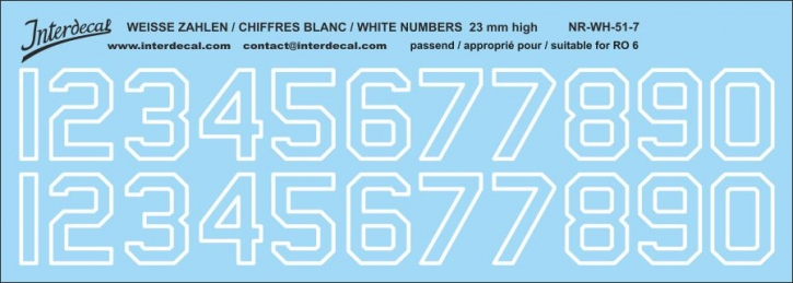 White numbers 07 for RO6 23mm high (204x73 mm)