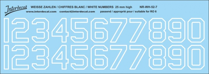 White numbers 07 for RO6 25mm high ( 256x73 mm)