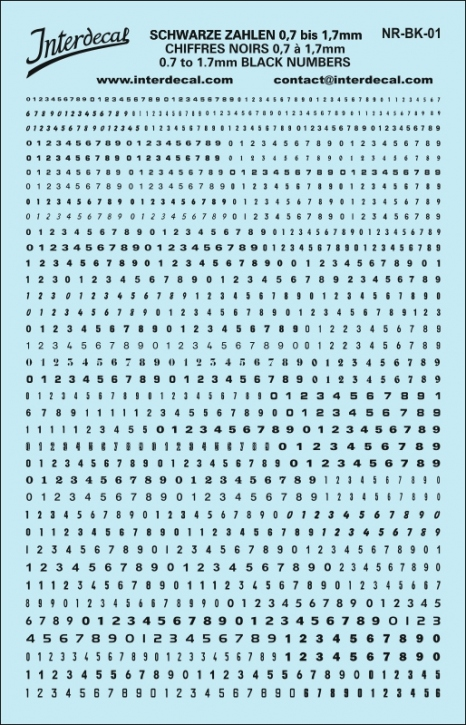 Schwarze Zahlen 1 0,7-1,7 mm (140x90 mm)