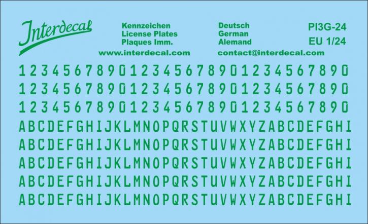 German registration (EU) green 1/24 (100x61 mm)  for decal PI7