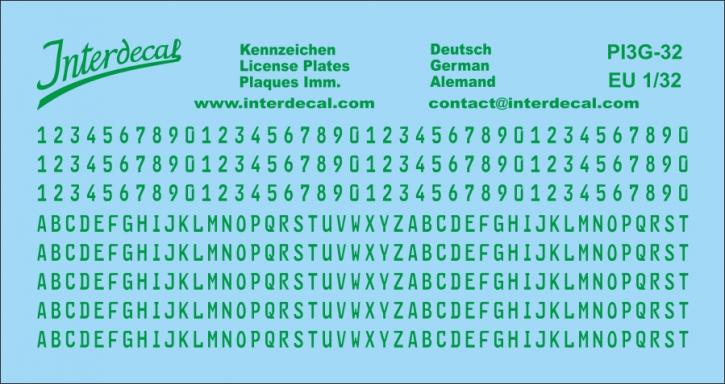 German registration (EU) green 1/32 (100x53 mm)  for decal PI7