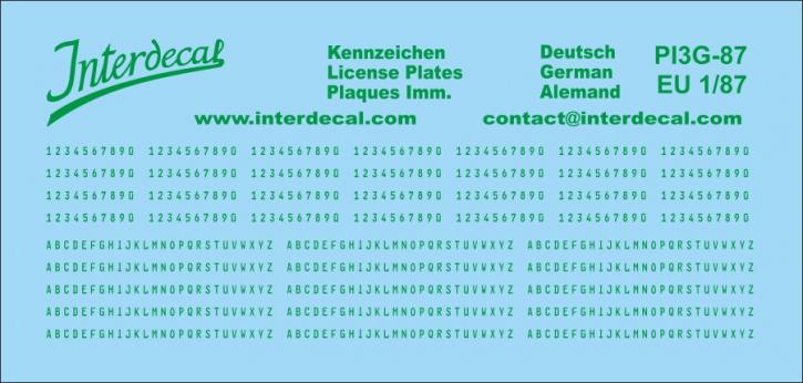 German registration (EU) green 1/87 (90x43 mm)  for decal PI7-87