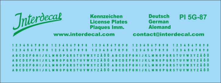 German registration green 1/87 (90x34 mm)  for decal PI7-87