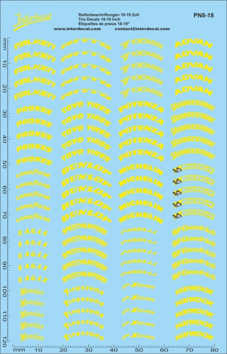 Tyre decals yellow 18-19 Inch 1/18  (140x90 mm)