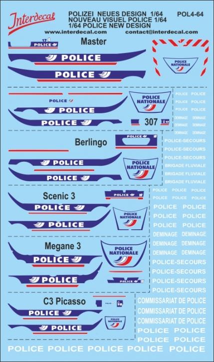 Deco Polizei, Peugeot 307, Renault Scénic, Mégane, Master... 1/64 (186x110 mm)