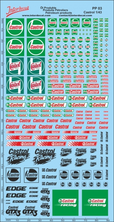 Öl Produkte 6B Castrol Sponsoren Decal 1/43 (195x95 mm)