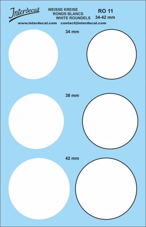 Kreise weiss 34,0 - 42,0 mm 1/10   (155x100 mm)