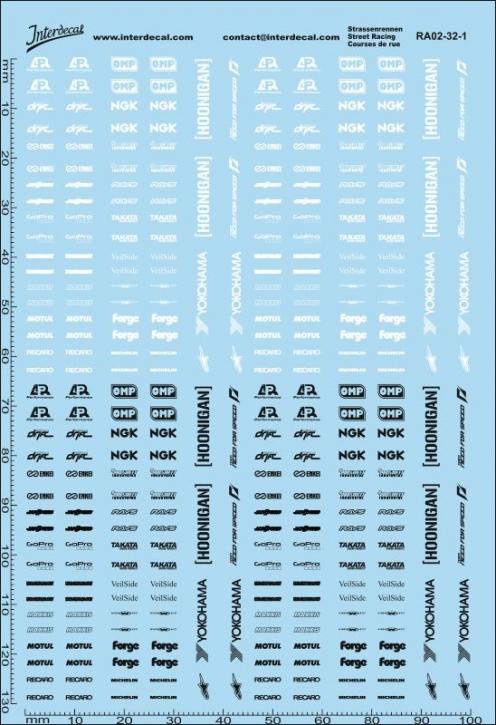 Straßenrennen Drift Decal 02 weiss / schwarz 1/32 (100 x150 mm)
