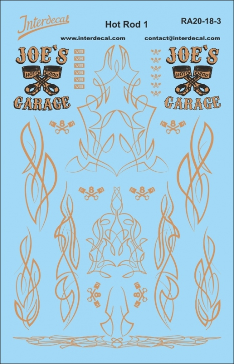 Hot Rod Pinstripe Decals 1/18 gold 2 (140x90 mm)