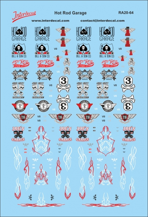 Hot Rod Garage Decals 1/64  (100 x 70 mm)