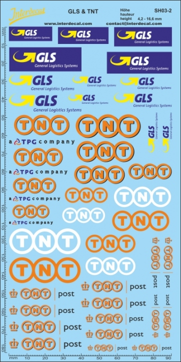 Transport, shipments GLS & TNT 2   height approximately 4,2 - 16,6 mm   (200x100 mm)