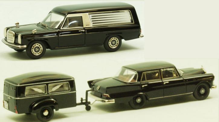 """Set Westfalia Bestattungsanhänger Typ 250 G + Mercedes 190 C """"Heckflosse""""  + Mercedes-Benz /8 Bestattungswagen """"Pollmann"""""""