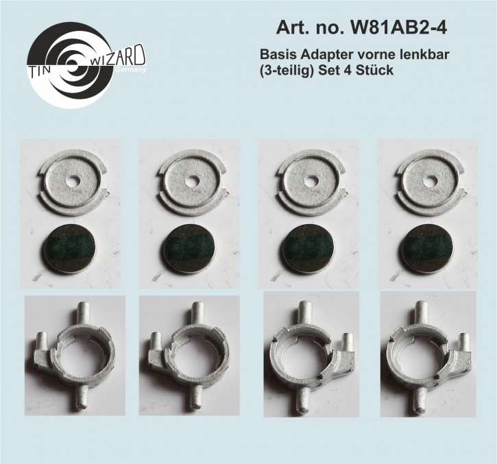 basic adaptor 02 front steerable (3 parts) set of 4 pieces