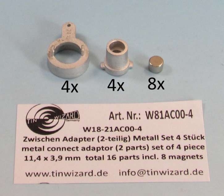 Connection adapter 00 (4 parts) set of 4 pieces (A=16,3 mm)