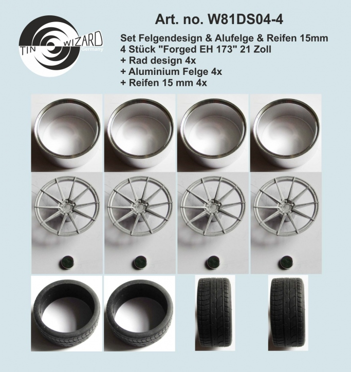 """Design & Alu rim & tyre 15 mm """"Forged EH 301"""" 21 Zoll Set 4 pieces"""