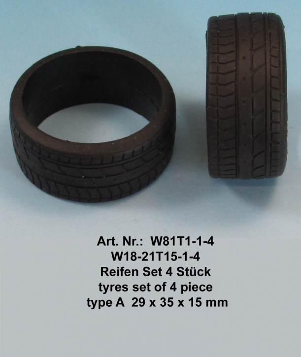 Tyres set of 4 pieces  type A  29 x 35 x 15 mm