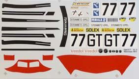 Decalsheet for Opel GT 1/18 - Gruppe IV Steinmetz 1972