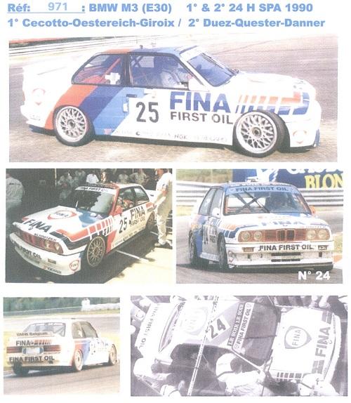 BMW M3 (E30) Schnitzer Spa 24H 1990 Decal 1/43 JA0971-JA0971