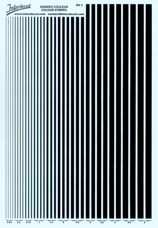 stripes bandes 0,6-0,9 mm 50x140 mm Streifen Decal Naßschiebebild