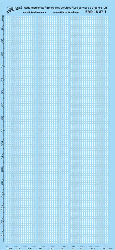 Rettungsdienste weiss DE 09 1//87 195x90 mm EM01-9-87-1 Decal Naßschiebebild