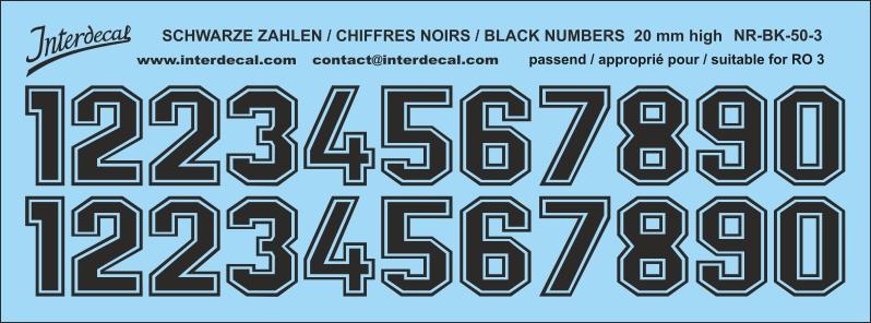 Weisse Zahlen Decal für R06 20mm Naßschiebebild Startnummern NR-WH-50-4
