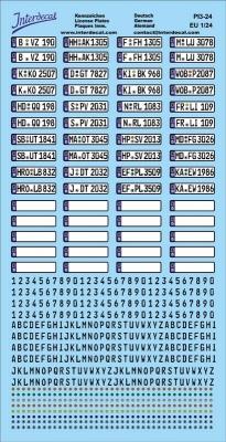 Deutsche Kennzeichen 1//24 Decal Naßschiebebild PI5-24